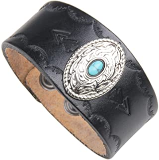 DENTRUN RetroTurquoiseGenuine Leather Bracelet,Adjustable Men Cuff Bracelets,Rock Punk Wide Belt Vintage Wristband Jewe...