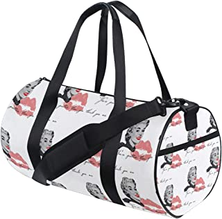 FAJRO Gym Bag Travel Duffel Express Weekender Bag Beige Floral Print Carry On Luggage with Shoe Pouch