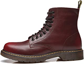 SF Martin Boots Men's British Retro Leather Boots High to Help Military Boots Men's Waterproof Long Boots Men's Trend Martin Shoes Leather