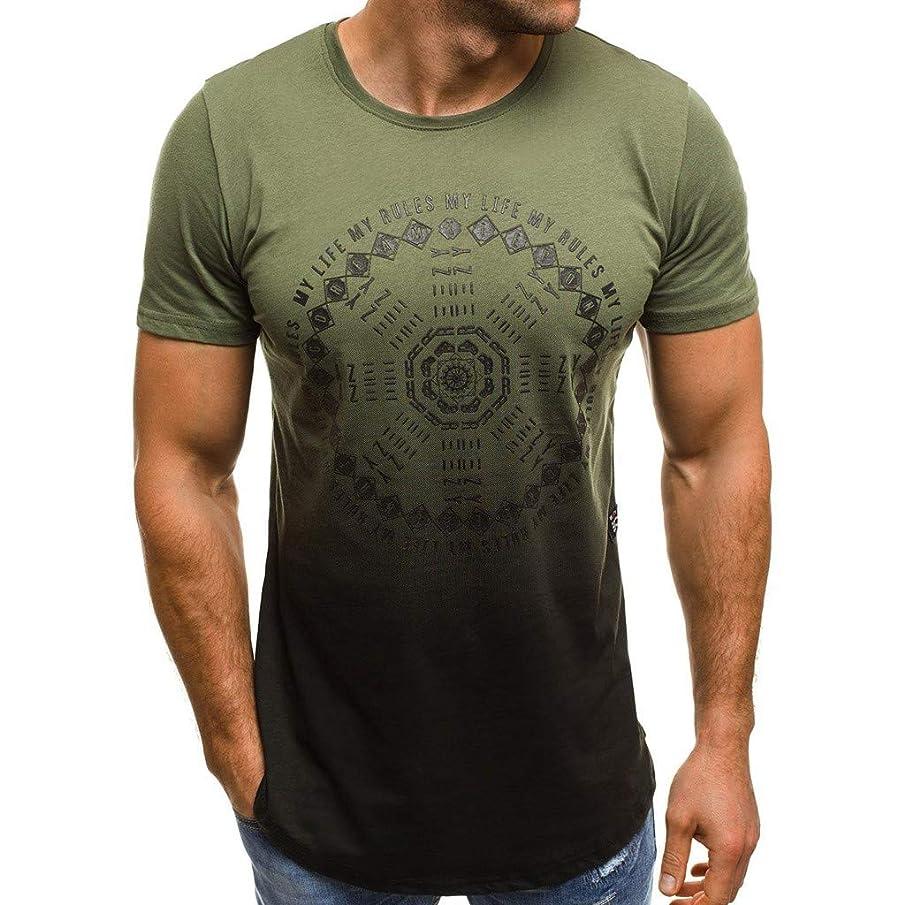 Men's Short Sleeves Shirts Summer Letter Print Slim Fit Round-Neck Short Sleeve Top T-Shirt Blouse