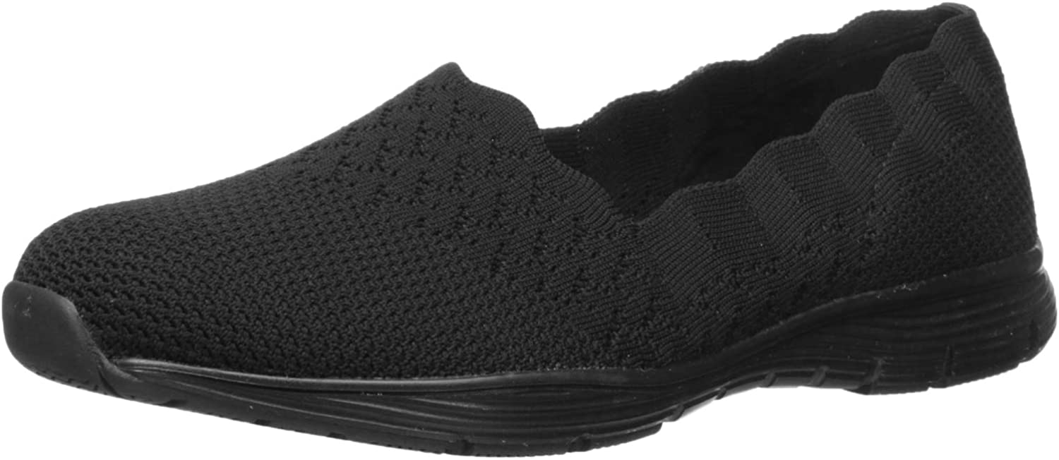 Skechers Woherren Seager-Stat-Scalloped Collar, Engineerot Engineerot Engineerot Skech-Knit Slip-on-Classic Fit Loafer, schwarz, 8.5 W US 837