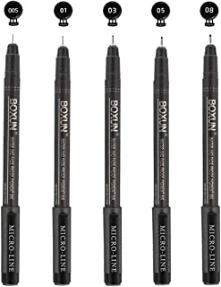 Micro-Line Pen Fine Point Black Fineliner Pens - Set of 5, Waterproof Archival Ink Drawing Pen for Sketching, Illustration, Manga, Outline, Technical Drawing
