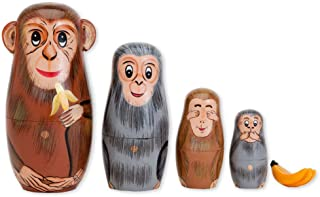 Bits and Pieces - Nesting Monkeys - Hand Painted Wooden Nesting Dolls - Matryoshka - Set of 5 Dolls from 6