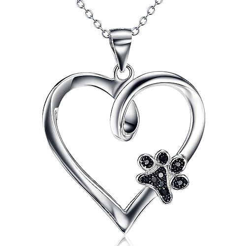 7f41fd1b29e6 Silver Mountain 925 Sterling Silver Dog Paw Print Heart Pendant Necklace,  18