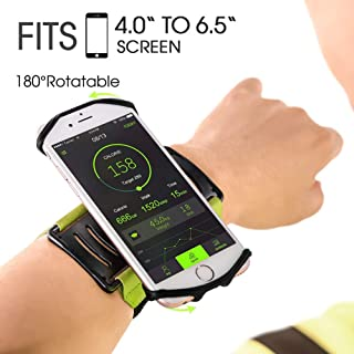 VUP Wristband Phone Holder for iPhone Xs Xs Max XR X 8 8 Plus 7 7 Plus 6S 6 5S Samsung Galaxy S9 S8 Plus S7 Edge, Google Pixel, 180° Rotatable, Great for Hiking Biking Walking Running Armband (Green)