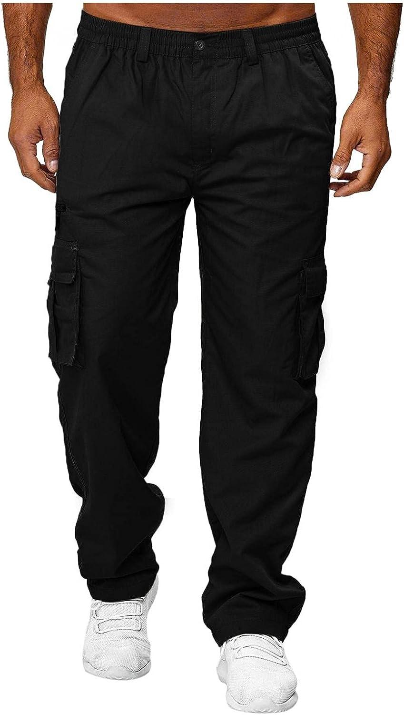 Beshion Cargo Pants for Men Straight-Leg Chicago Mall Overalls Pockets Elasti Year-end gift