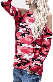 iTLOTL Women Off Shoulder Camouflage Long Sleeve Blouse Tops T-Shirt