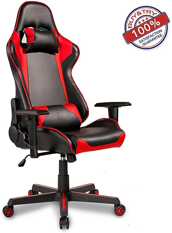 Hooseng High Back Ergonomic PU Leather Gaming Racing Computer Office Chair Reclining Executive And Comfortable Adults Teens Kids Red3