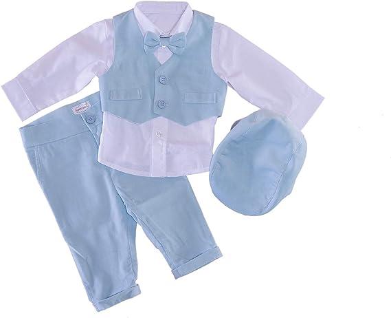 Sixforkids Traje de bautizo para niño o bebé, traje de fiesta, traje de boda, azul claro