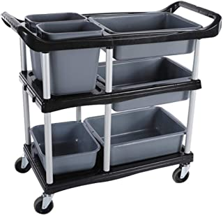 ZQZ Utility Cart Goods Rack - Multi-Function Mobile Dining Car Hotel Restaurant Collection Tableware Car Stainless Steel Trolley Serving Carts (Color : B, Size : 8846.594 cm)