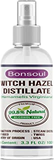 BONSOUL Pure and Natural No Alcohol Witch Hazel Distillate Toner and Astringent, 100ml