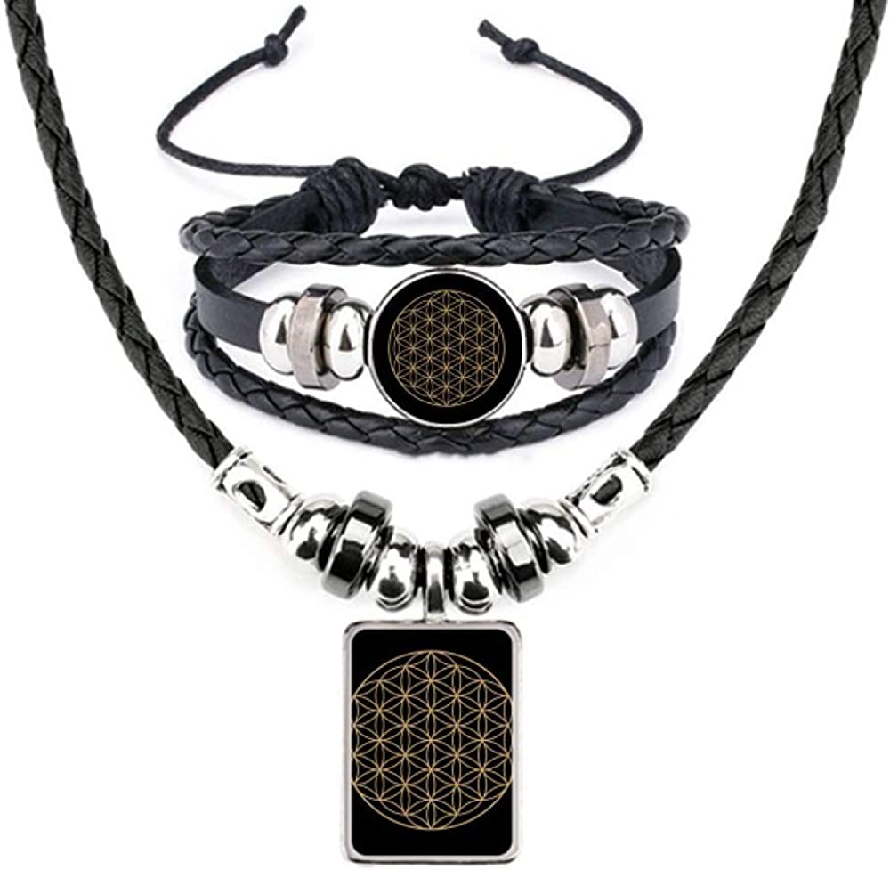 Shape Geometry Circle Totem Leather Necklace Bracelet Jewelry Set