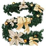 Guirnalda con bayas y piñas de pino artificiales para decoración navideña en escaleras o chimeneas