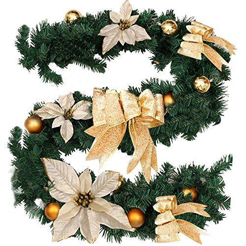 Ghirlanda di Natale artificiale con Knot Giallo e Fiore; ghirlanda di Natale, ideale come decorazione per scale e caminetti Gold