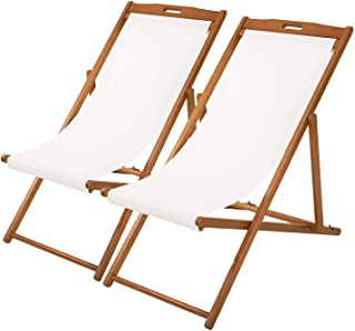 Beach Sling Chair Set Patio Lounge Chair Patio Furniture Outdoor Reclining Beach Chair Wooden Folding Adjustable Frame Sol...