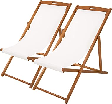 Beach Sling Chair Set Patio Lounge Chair Patio Furniture Outdoor Reclining Beach Chair Wooden Folding Adjustable Frame Solid