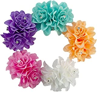 DreamLily Women's Girl Bridal Lily Crystal Hair Flower Clip Barrette for Wedding Party