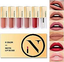 NAQIER Matte Velvet Lip Gloss Set, 6PCS Nude Liquid Lipstick Kit Moisturizer Smooth, Waterproof Lip Cream with Clear Lipgl...