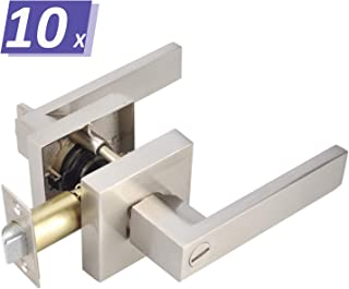 10 Pack Privacy Door Handles Keyless Bath/Bed Rooms Door Locks in Durable Satin Nickel Finish, Heavy Duty Door Locks Locked Inside for Privacy, Commercial/Residential Use