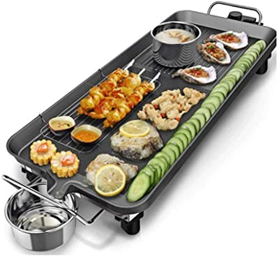NILINMA Indoor Smoke-free Multi-function Barbecue Grill, Outdoor Grill Electric Grill with Glass Cover is Easy to Clean and Portable Design
