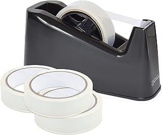 Rapesco 1639 Germ-Savvy Antibacterial, 500 Heavy Duty Tape Dispenser with 4 Rolls of Tape, Black