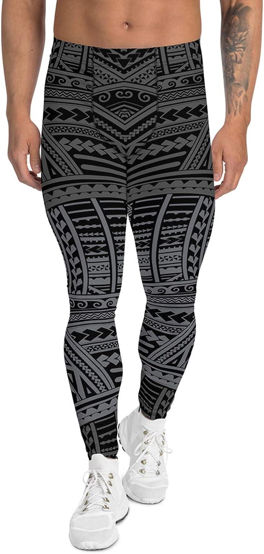 Satori_Stylez Maori Leggings for Men Gunmetal Gray Polynesian/Hawaiian Tattoo Pattern Print