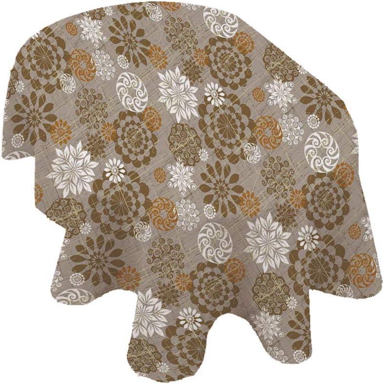 Mantel ovalado floral, diseño de flores ornamentales, diseño de flores, mantel de poliéster, 60 x 84 pulgadas, para eventos en interiores y exteriores, sepia ámbar gris