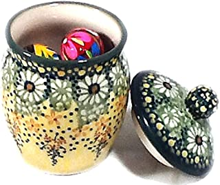 Polish Pottery Lidded Jar in Signature Roksana - Filled with 6 Wooden Polish Easter Eggs Pisanki