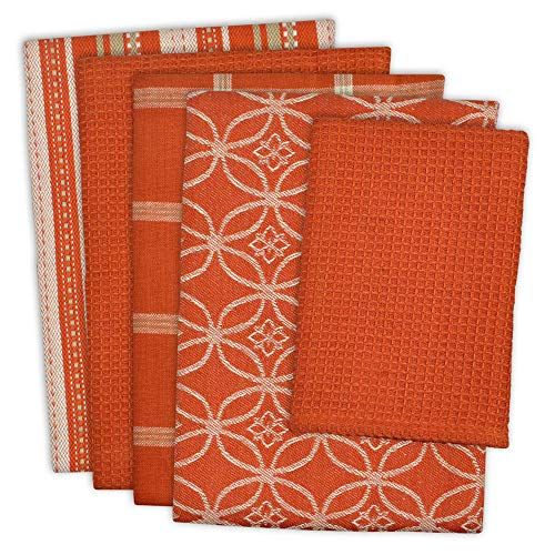 "DII Cotton Oversized Kitchen Dish Towels 18 x 28"" and Dishcloth 13 x 13"", Set of 5 , Absorbent Washing Drying Dishtowels for Everyday Cooking and Baking-Spice"