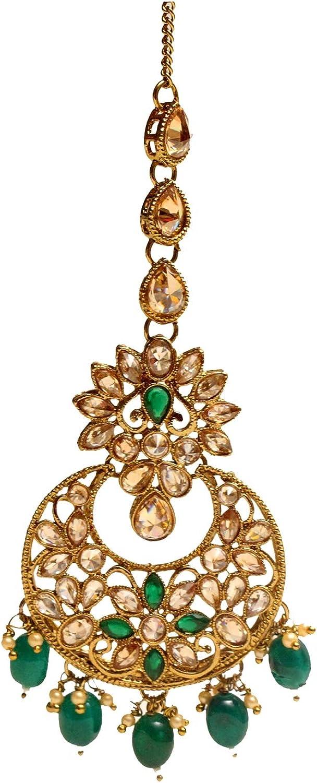 Glamorous Collection Antique Gold Green Crystal Bridal Headpiece Forhead Tikka Tika Wedding Jewelry