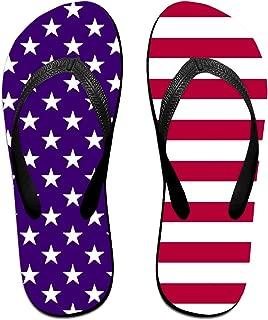 USA Flag Men's Thong Sandals Funny Light Weight Shock Proof Shower Slippers Flip-Flops