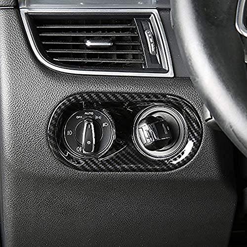 , Für Porsche Macan 2014-2017 Kohlefaser-Stil Auto Scheinwerfer Schalter Rahmen Dekoration Abdeckung Verkleidung ABS Interieur Modifiziertes Zubehör-Schwarz