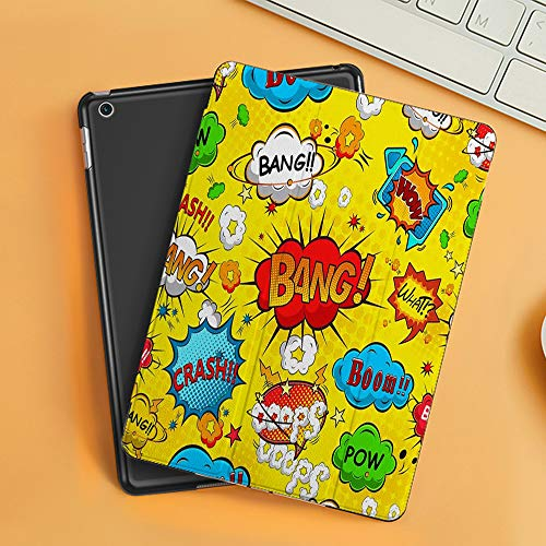 Case for iPad Air 10.2(2019/2018),Superhero,Humor Speech Bubbles Funky Vivid Bang Boom Bam Pow Fiction Symbols Artful,Cover with Auto Sleep Wake Feature, Slim Lightweight Stand Protective Case