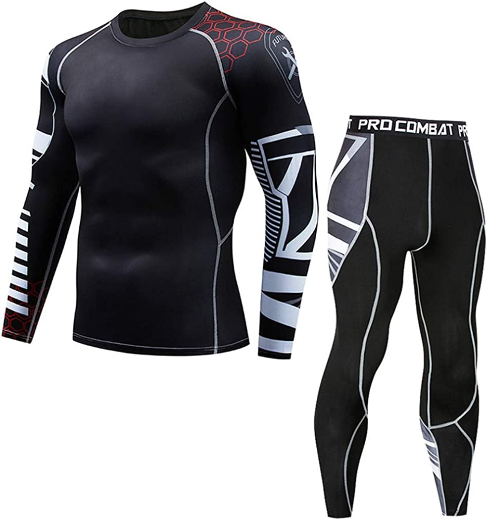 Men Thermal Underwear Sets,Compression Sweat Quick Drying Long Johns,Fitness Bodybuilding Shapers Underwear