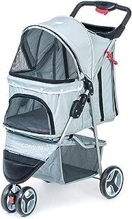 Comiga Pet Stroller, 3-Wheel Cat Stroller, Foldable Dog Stroller with Removable Liner and Storage Basket, for Small-Medium Pet, Multiple Colors