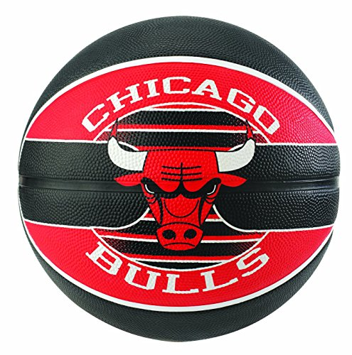 Spalding NBA Team Chicago Bulls Ball Basketball, schwarz/Rot, 7