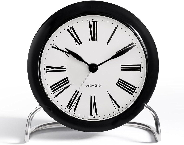 Roman Tischuhr, schwarz wei,  11 cm, Alarm