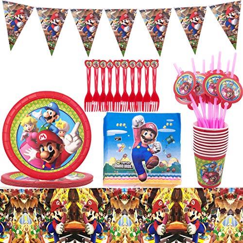 ZSWQ Decorazioni Compleanni Super Mario, Super Mario Party Kit Tovaglia Copertina Buon...