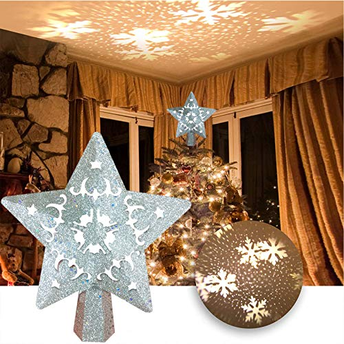 ixinxikejiyoux Christmas Tree Star Topper,Christmas Tree Topper Light with Shiny Silver Powder, White Rotating Snowflake Projector, Suitable for All Indoor Christmas Tree Decorations (Silver)