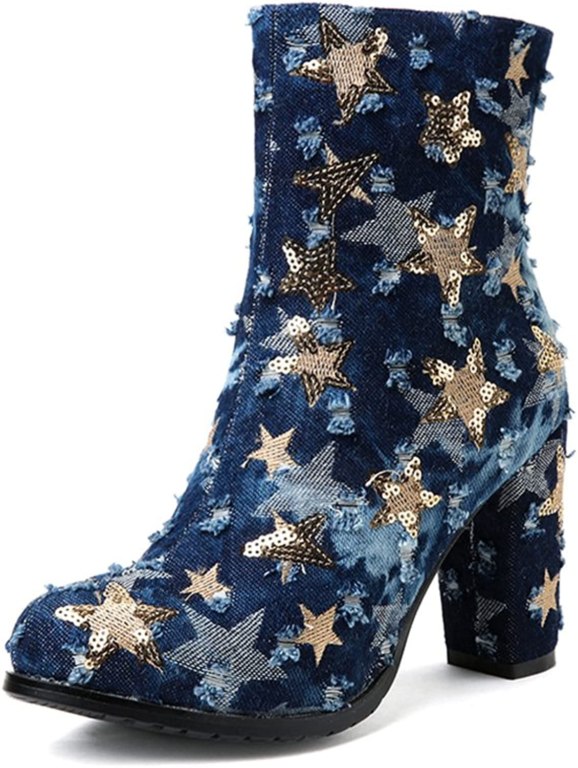A-BUYBEA Women's Fashion Sequin Star Chunky High Heel Denim Ankle Boots shoes