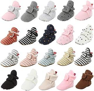 Unisex Newborn Baby Cotton Booties Non-Slip Sole for Toddler Boys Girls Infant Winter Warm Fleece Cozy Socks Shoes
