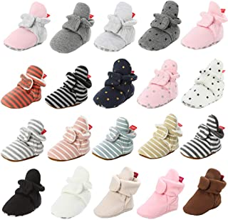 Isbasic Unisex Newborn Baby Cotton Booties Non-Slip Sole for Toddler Boys Girls Infant Winter Warm Fleece Cozy Socks Shoes
