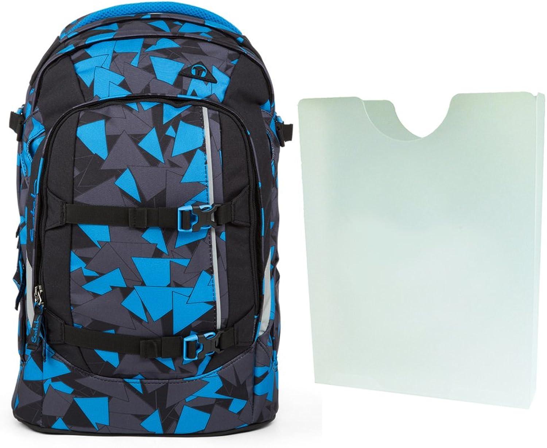 Satch Pack Schulrucksack-Set 2-teilig (Rucksack & Heftebox) (Blau Triangle)