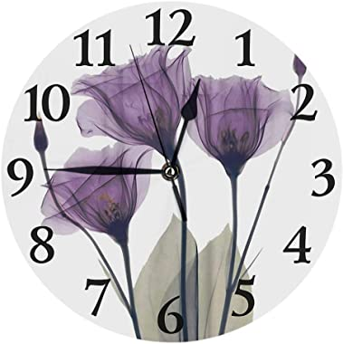 Britimes Round Wall Clock Silent Non Ticking Clock 9.5 Inch for Living Room Bathroom Kitchen School Decor Purple Tulip