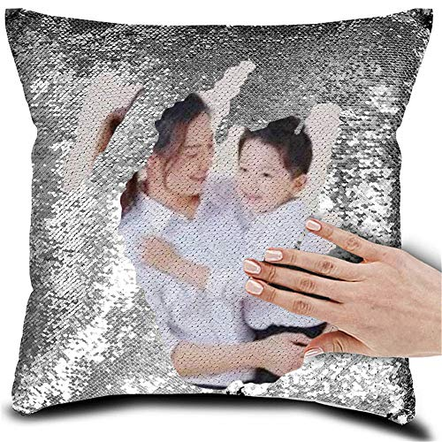 ZWSLY Personalized Pillow Custom Picture Reversible Sequin Throwing Cushion Living Room Car Pillow (Silver, 15.7515.75IN)
