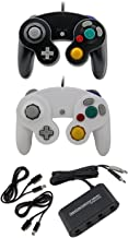 Gamecube Adaptor 2 Controllers 2 Extension Cords Smash Bros Bundle – 2 Wired Gamecube/Compatible for Wii Switch Controller (Black & White) Set by MarioRetro