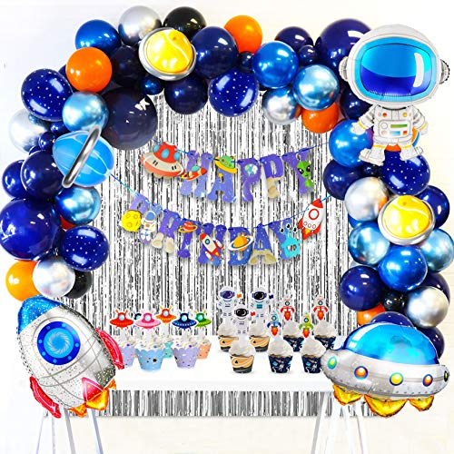 JOYYPOP Outer Space Birthday Decorations 84 Pcs Space Birthday Party Supplies with Happy Birthday Banner UFO Rocket Astronaut Balloons for Solar System Galaxy Universe Party