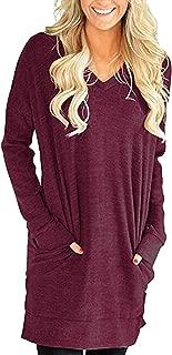 Buauty Womens Casual V-Neck Long Sleeves Sweatshirt Tunics Blouse Tops with Pocket