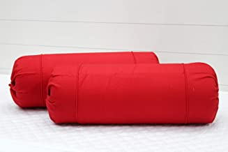 Aurave Excel Cotton 2 Pieces Plain Bolster Cover Set - 16 X 32 inches, Red