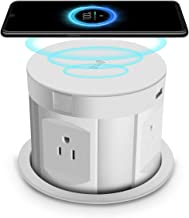 Automatic Pop Up Sockets,Retractable Recessed Power Strip,Pop Up Power Strip 4 Outlets,with Wireless Charger,2 USB Charging Ports for Office Table and Workshop (White)